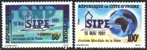 Ivory Coast. 1991. 1053-54. International Post Day. MVLH.