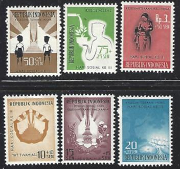 Indonesia #B126-B131 Very Lightly Hinged Full Set of 6