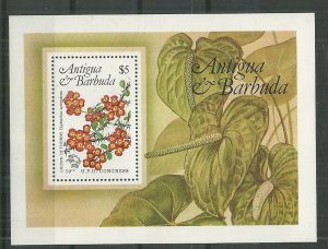 1984 Antigua 759 Local Flowers Souvenir Sheet MNH SCV$4.75