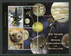 TUVALU  50 YEARS OF SPACE EXPLORATION & SATELLITES GALILEO SHEET MINT NH