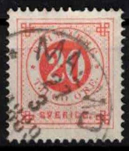 Sweden - SG35 - 20ö Ringtyp w. blue posthorn on back CV 1.10£ (ca. 1.25€)