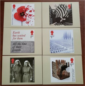 HERRICKSTAMP GREAT BRITAIN Sc.# 3632-37 World War I - 1917 PHQ Cards