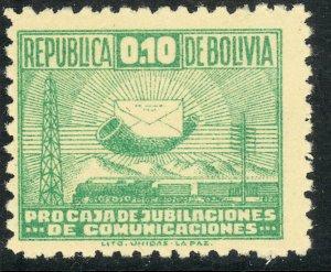 BOLIVIA 1947-48 10c Emerald Postal Tax Stamp Sc RA8 MNH