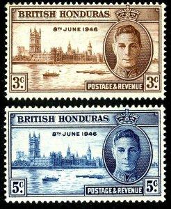 BRITISH HONDURAS  - 1946 - KG VI - PEACE ISSUE - WW II - MINT - MNH SET OF 2!