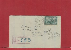 Windsor, Ont. 1946 Registered War Issue 14 cent single use Canada cover