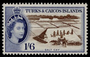 TURKS & CAICOS ISLANDS QEII SG247, 1s 6d sepia/dp ultramarine, NH MINT. Cat £20.