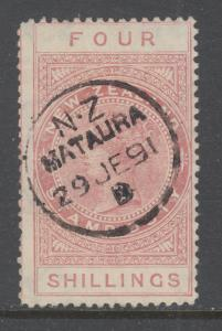 New Zealand Sc AR5, SG F25a, used. 1886 4sh red brown QV Postal Fiscal, sound