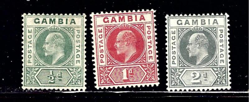 Gambia 41-43 MH 1904-06 issues