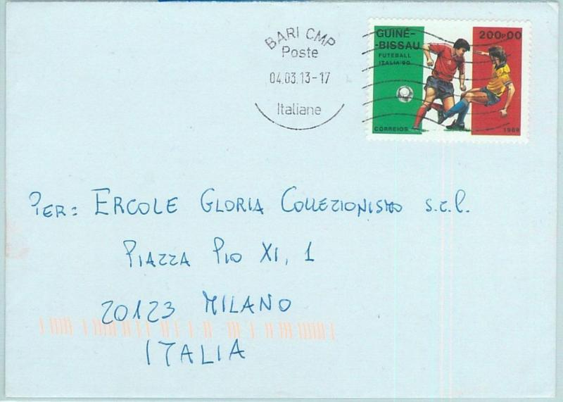 67889 - POSTAL HISTORY: GUINEA BISSAU stamp used  in ITALY 2013: FOOTBALL