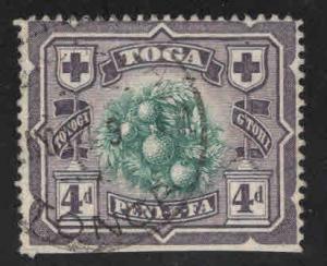 TONGA  Scott 44 Used 1897 Breadfruit Tree stamp turtle watermark