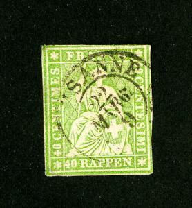 Switzerland Stamps # 40 VF Used Scott Value $100.00