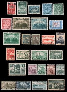 Poland 1918-1947 BACK OF THE BOOK COLLECTION ON BLACK PAGES USED nos. B36-B39...