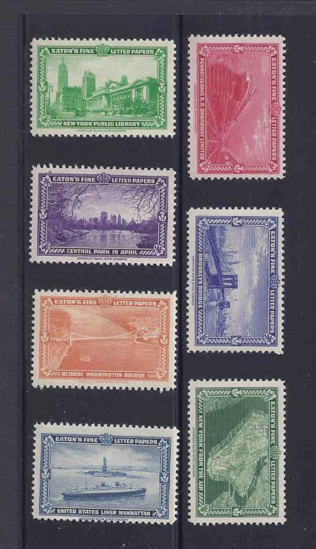 Ca 1934 SET OF 7 POSTER STAMP SCENES OF N.Y.  BY EATON'S PAPER CO