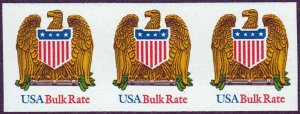U.S. #2603 MNH Imperf Error, Row of 3 Bulk Rate Eagle Stamps.