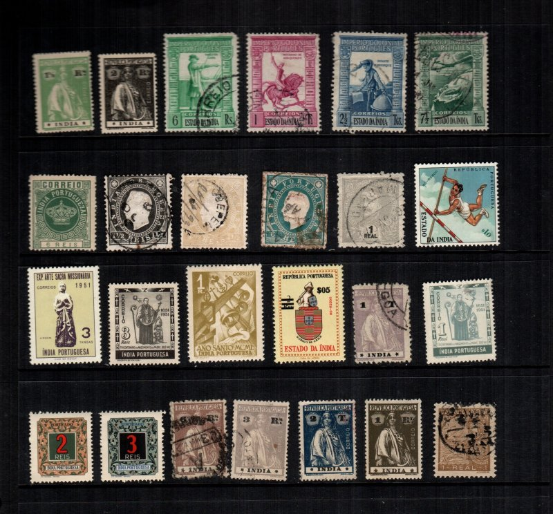 Portugal India  Mint hinges and used lot of 24