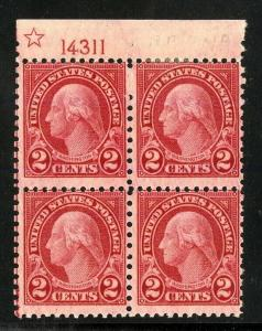 US Stamps # 579 2c Washington FINE OG NH LH 3 Stamps Nh, 1Lh Plate Block Of 4