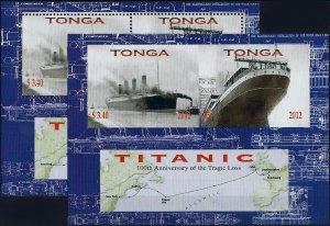 2012 Tonga Ships, Titanic, perforated+imperforated Sheet VFMNH! LOOK!