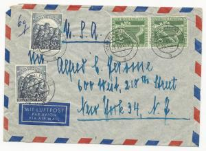 Germany Scott #9NB4 x3 & #9NB5 x2 on Cover March 21, 1951 Berlin