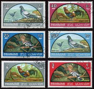 Sharjah Mi 113-118 cto-h set/6 1965 Native Birds - nature