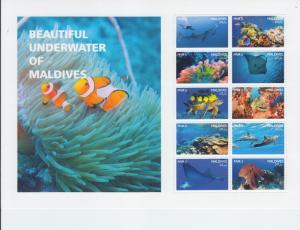 2017 Maldives Fish & Marine Life Sheet of 10 (Scott NA) MNH