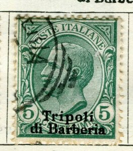 ITALY TRIPOLI; 1910 early Emmanuel issue fine used 5c. value