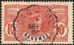 DAHOMEY - 1908 (7/9) - CAD convoyeur-ligne  COTONOU À OUIDAH  sur Yv.22