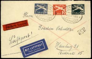 Danzig 1937 Germany Poland Cover Luftpost Airmail Express Hamburg Eilbrief 84051