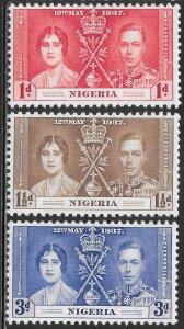 Nigeria 50-52 Unused/Hinged Hinge Remnant - George VI Coronation