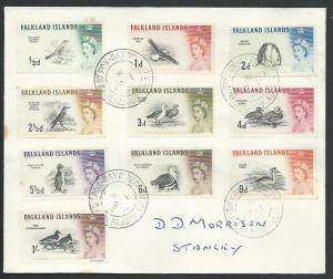 FALKLAND IS 1968 cover Birds to 1/-, FOX BAY cds...........................61441