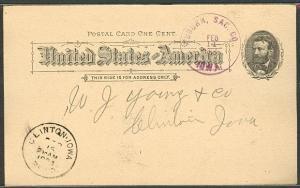 1894, Auburn, Sac. Co., Iowa Feb 14 purple cds on 1¢ UX10 card, VF