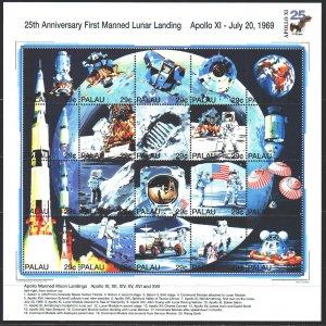 Palau. 1994. Small sheet 725-44. Moon landing, space. MNH.