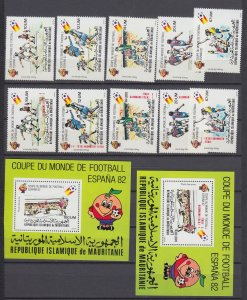 Z4098, 1980 & 2 mauritania mnh set + s/s + ovpt set  #c196-201, c212-7 sports