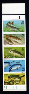 2205-2209 Pane of 5 22¢ Fish Stamps with Tab & Pl# Mint Never Hinged