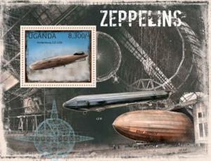 Uganda - Zeppelins on Stamps -  Stamp Souvenir Sheet - 21D-070