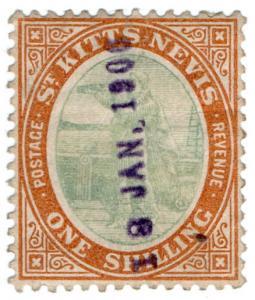 (I.B) St Kitts Revenue : Duty Stamp 1/-