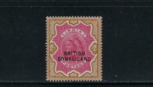 SOMALILAND PROTECTORATE SCOTT #17  1903  2R INDIA OVPT  AT BOTTOM - MINT LH