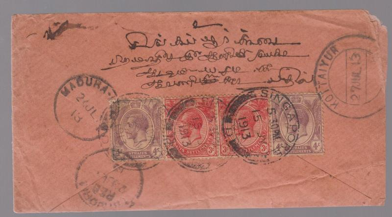 1913 Straits Settlement Singapore Cover to India