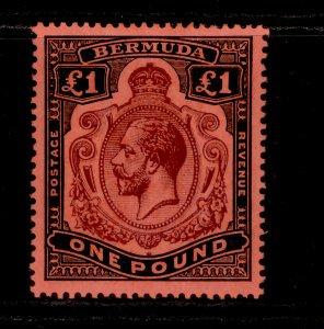 BERMUDA GV SG55, £1 purple and black/red, LH MINT. Cat £275.