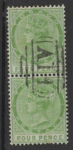 TOBAGO SG10 1880 4d YELLOW-GREEN PAIR USED