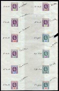 SEYCHELLES-1905 4c & 5r REVENUE COLOUR TRIALS.  Twelve examples affixed to Sheet