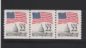 Scott 2115 - Flag Over Capitol. Coil Strip Of 3. #8   #02 2115