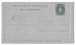 Italy Postal Stationery Card and 5c Letter Card Coat of Arms HG 1 1880s Unused