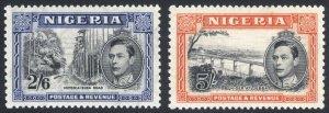 Nigeria 1938 2s6d-5s Pict PERF 13x11.5 SG 58-59 Sc 63c-64c LMM/MLH Cat£170($216)