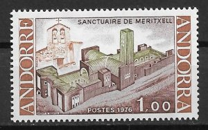 1976 French Andorra 250 Meritxell Sanctuary and Old Chapel MNH