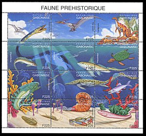 Gabon 801, MNH, Prehistoric Animals miniature sheet