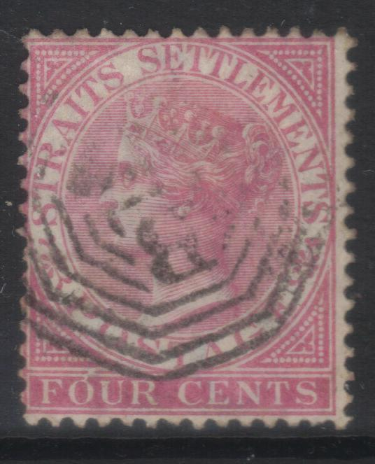 STRAITS SETTLEMENTS 1867-1872 CROWN CC SG12 USED CAT £14