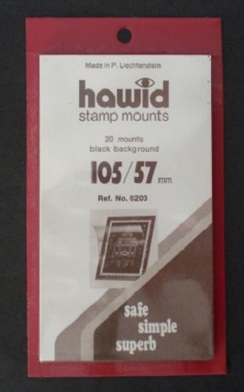 Hawid Stamp Mounts Size 105 / 57 BLACK Pack of 25