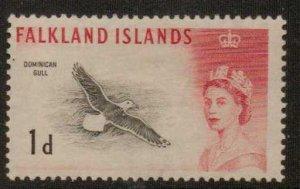 FALKLAND ISLANDS SG194 1d BLACK & SCARLET MTD MINT
