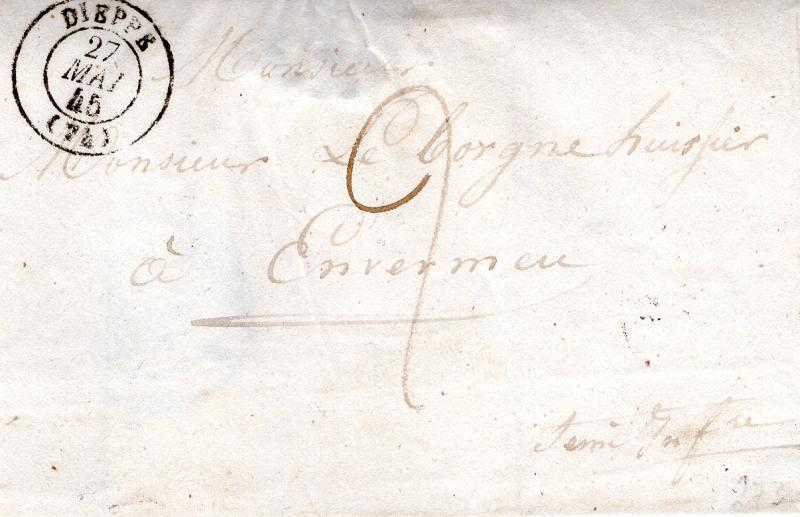 France stampless (1843. Wrap...No letter)