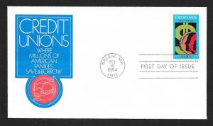UNITED STATES FDC 20¢ Credit Union 1984 Cacheted